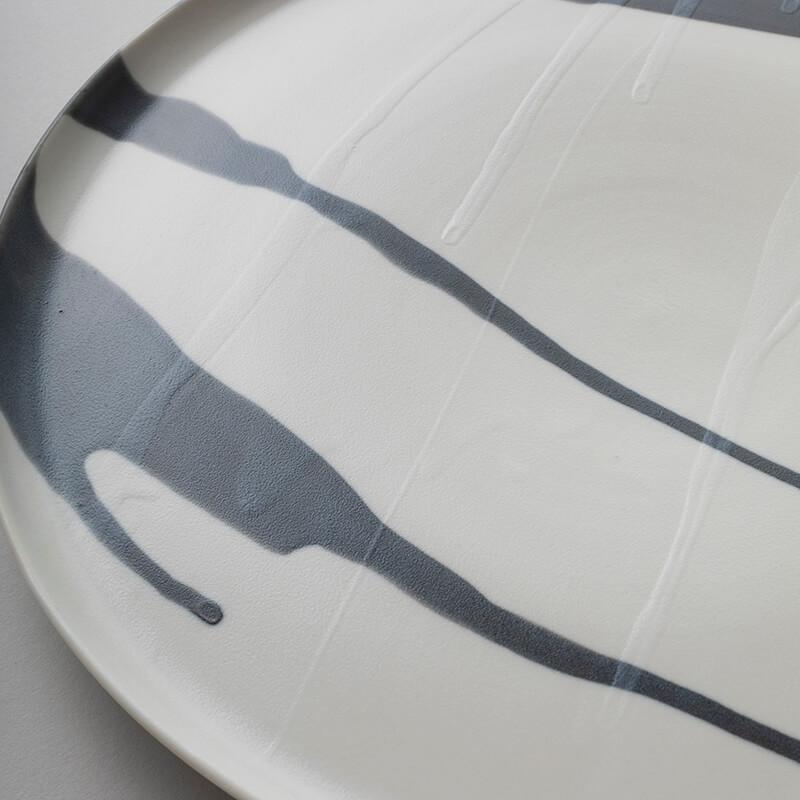 白磁杓掛け 8寸皿