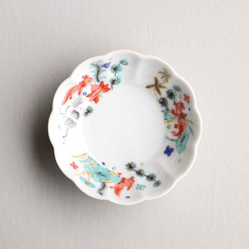 【ストア限定】 色絵 菊形鉢 小(5枚) & ギフトボックスセット