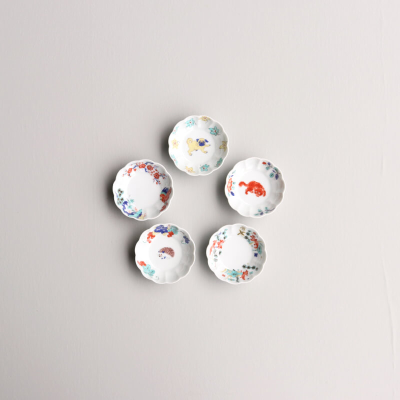 【ストア限定】 色絵 菊形鉢 小(5枚) & 桐箱セット