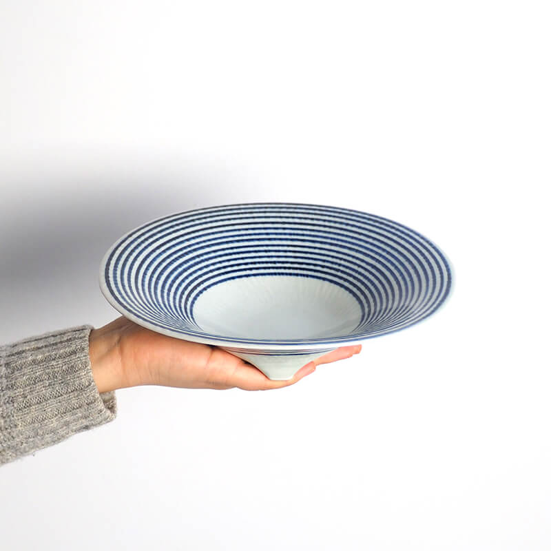 藍駒 三つ足大鉢