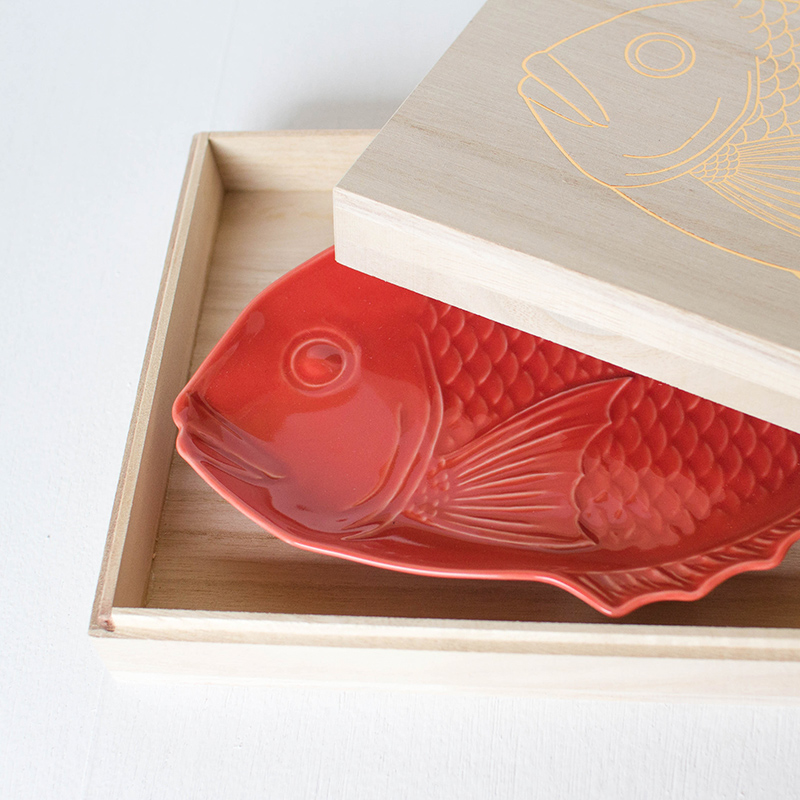 縁起物 祝い鯛 中皿/桐箱