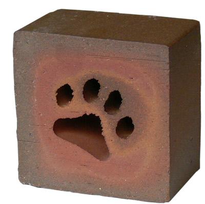 レンガの置物/ワンコ(犬の足型のくりぬき)カラー:ブラウン/レッド/ベージュ
