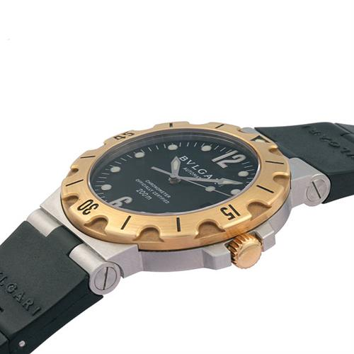 ブルガリ BVLGARI ディアゴノ スクーバ クロノ SD38SG メンズ腕時計 K18YG ラバー 自動巻