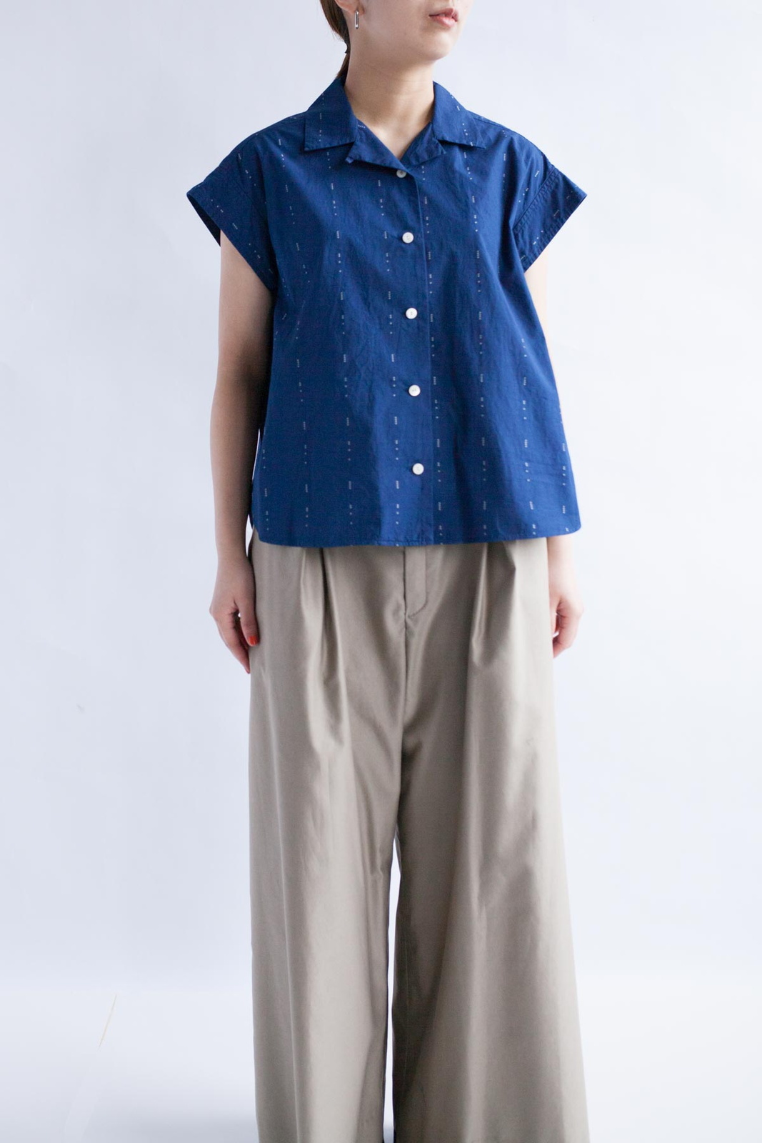 雨のドビー 本藍染オープンカラーシャツ