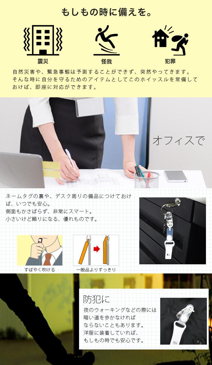 【バンドクリップ】脱着出来る フィッシュクリップ付き 緊急ホイッスル ホワイト 日本製 抗菌キャップ付き