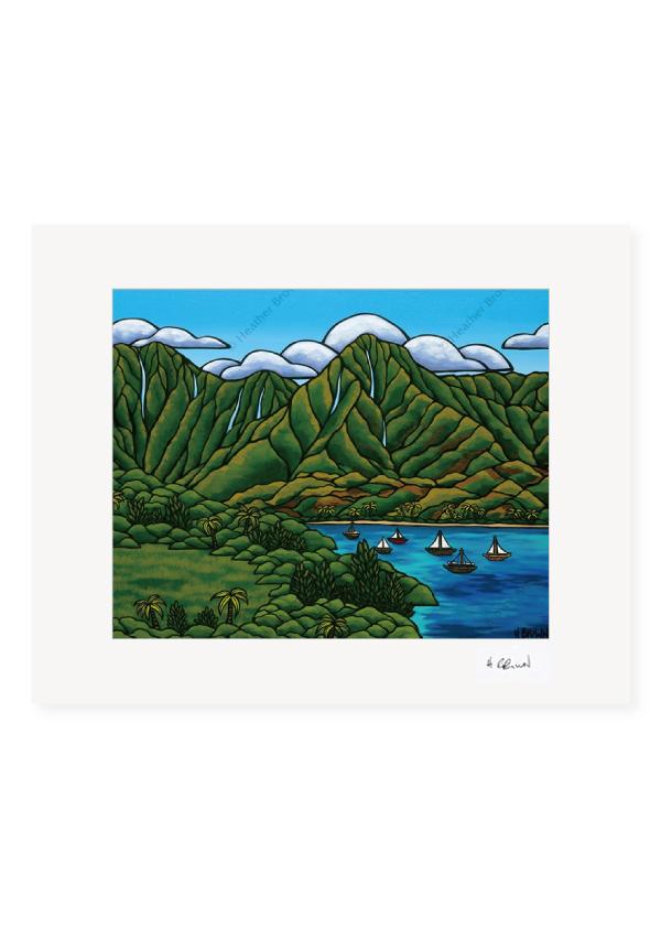 Sailboats in Hanalei <br>【オープンエディションマットプリント】