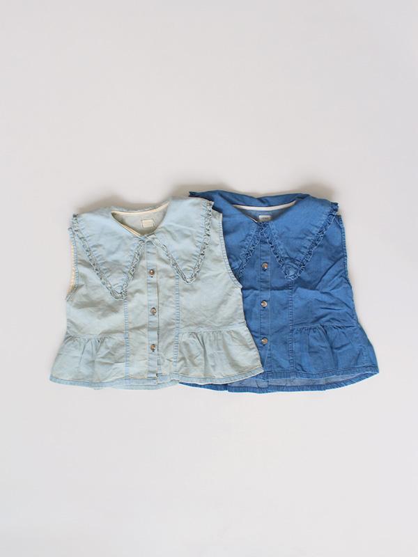 collar denim blouse