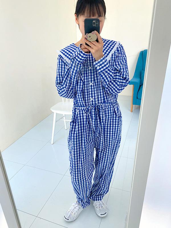 blue check jumpsuit