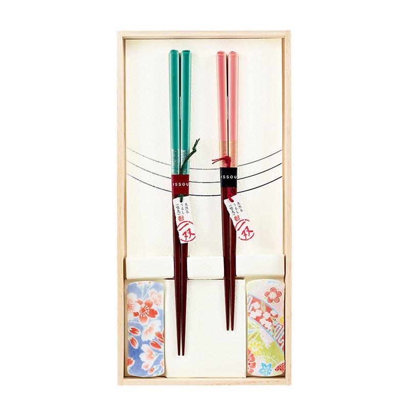 【お取り寄せ】一双 桐箱 箸置付夫婦箸 ほのか