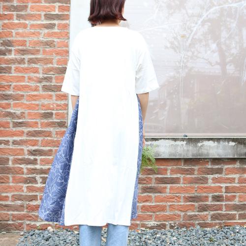 きれいめ天竺×柄サイド切替ワンピース