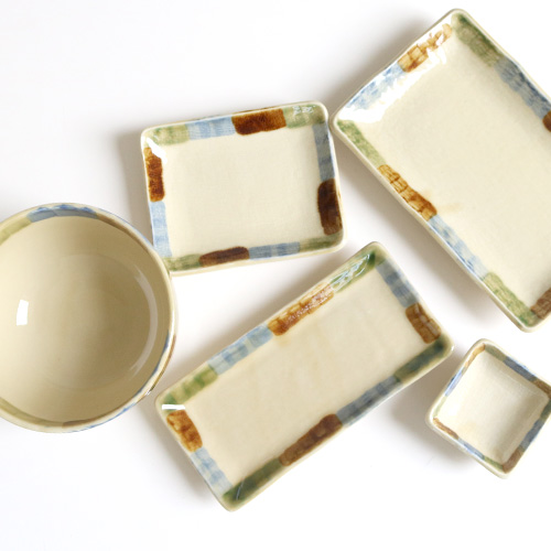 三彩焼物皿