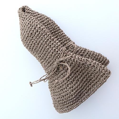 手編みつば広ペーパーハット