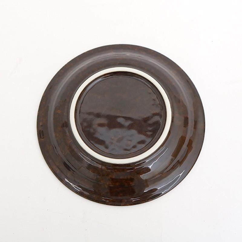 ブラウン花三島4.5深皿