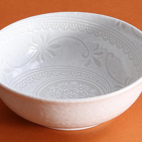 白雪花三島4寸鉢
