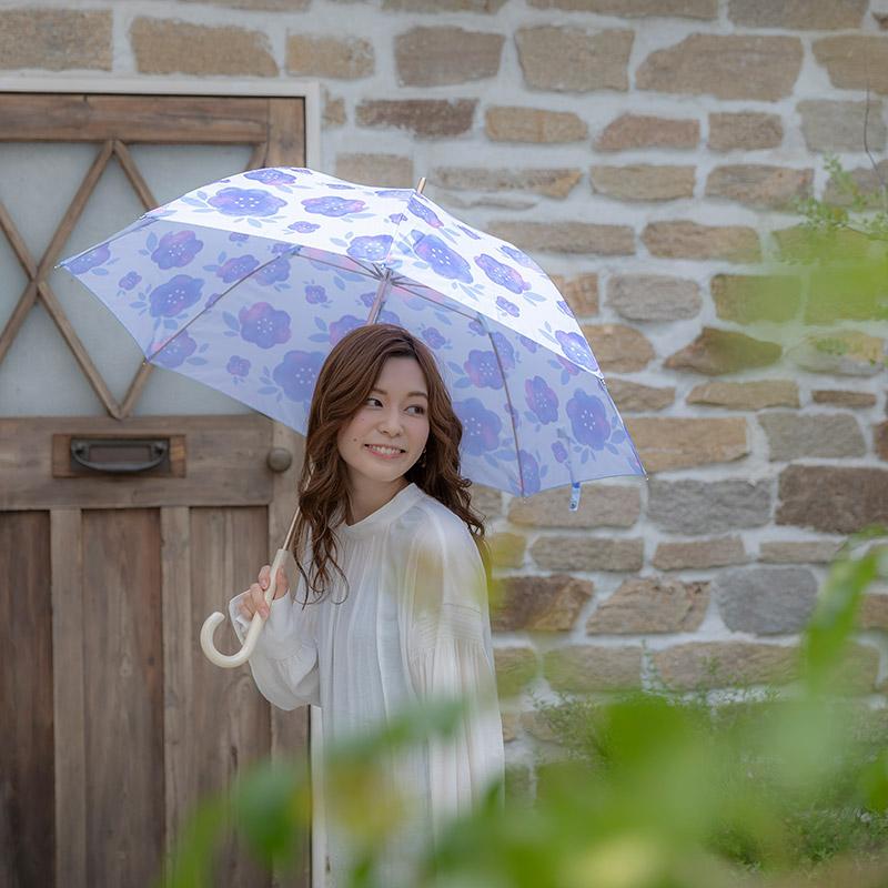 estaa長傘 水彩花柄 ブルー (晴雨兼用/UV)