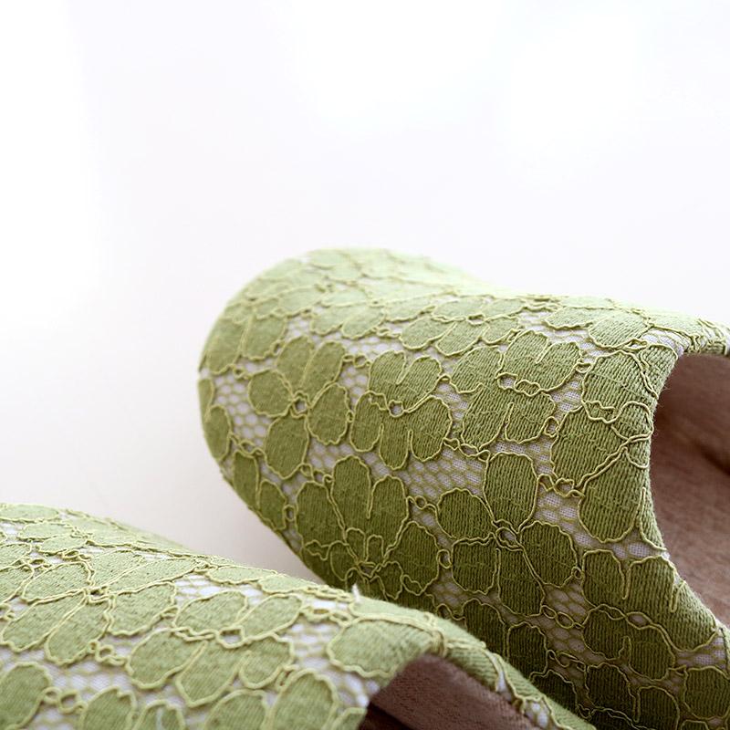 HDスリッパ S ガーデンフラワーレース グリーン