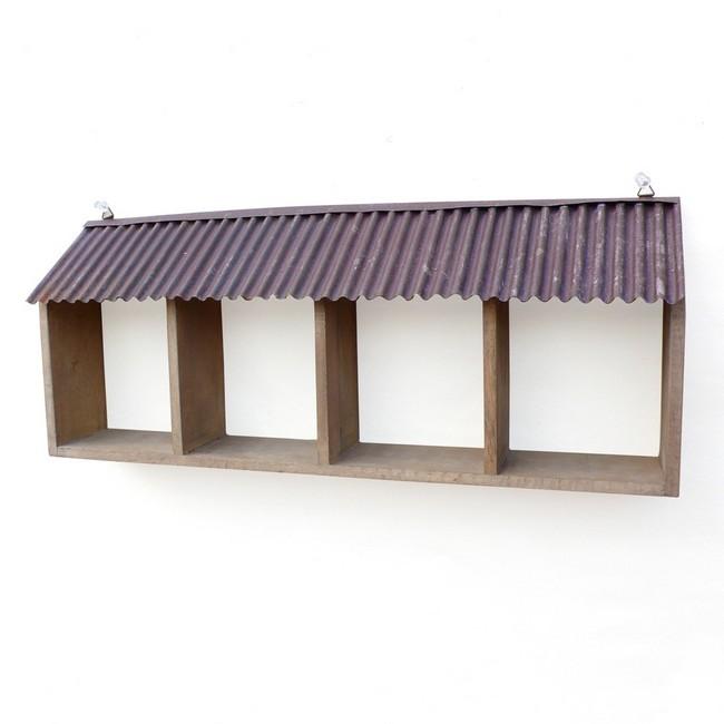 4BOXルーフシェルフ   カントリー雑貨 木製飾り棚