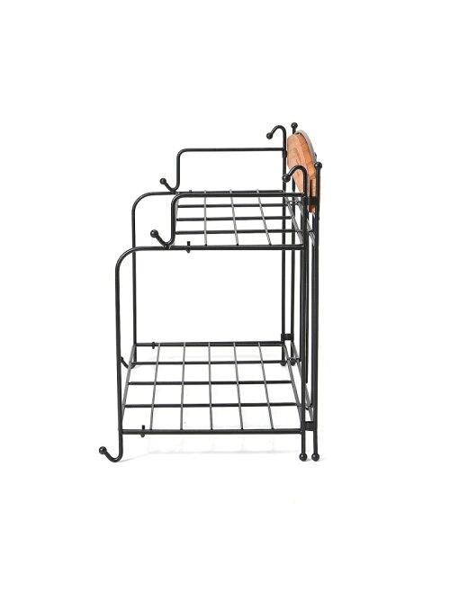 ワイヤーラック2段 35×H30  アイアン折りたたみラック ボワフェール 白/黒