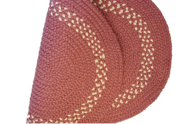 カスタムラグ オーバルマット ピンク 三つ編みマット アメリカンカントリー