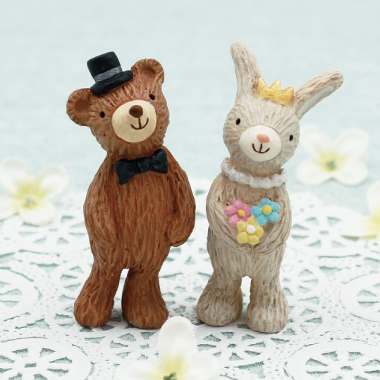 セルバロマンティカ ウエディングL フォレスト(クマ&ウサギ) <br>ミニチュアアニマルマスコット