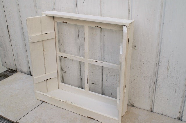 ディスプレーウインドウシェルフ 木製窓型シェルフ 棚 ブルー/ホワイト