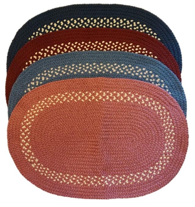 カスタムラグ オーバルマット レッド 三つ編みマット アメリカンカントリー
