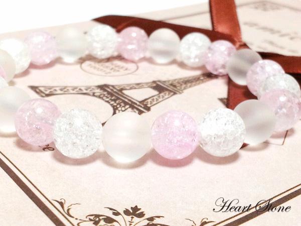 【乙女の為の初めてのパワーストーン+。】ピンククラック入り水晶&フロスティ水晶MIXブレスレット