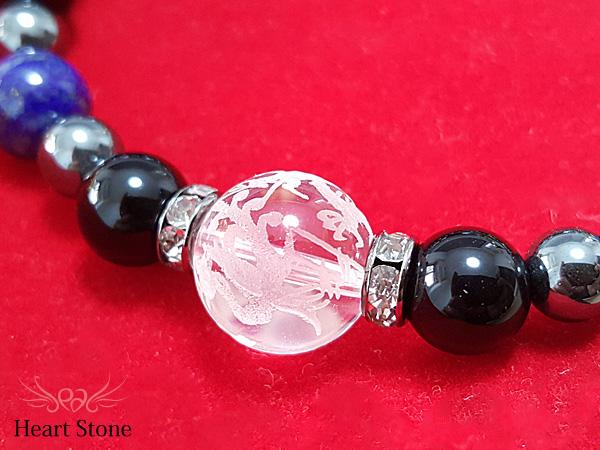 【邪気払い】水晶彫り四神一珠水晶×ラピスラズリ×アメジストブレスレット