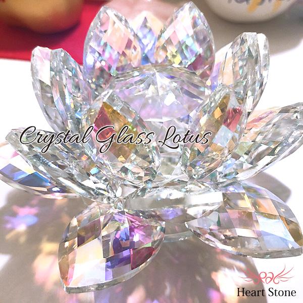 虹色に輝くオーロラクリスタル★蓮 -lotus-インテリアの置物に★クリスタルガラス サンキャッチャー