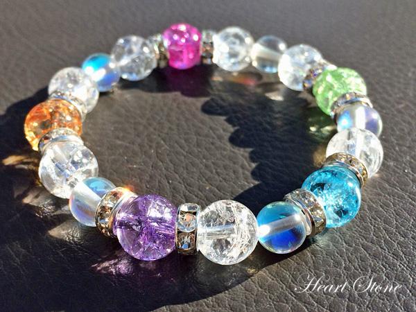 光によって次々と生まれるプリズム★5色カラークラック水晶×ルナフラッシュブレスレット