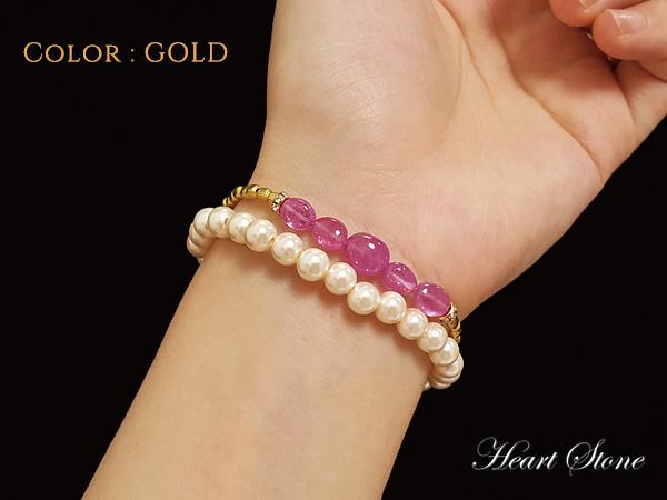 【PROUDIA】納得の宝石品質!ピンクサファイア×メタルパーツブレスレット