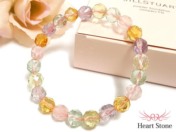 宝石質色んな天然石MIXスターカットブレスレット
