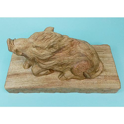 猪 台付き 素材:楠