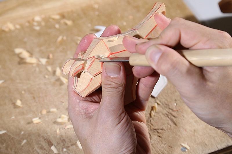 こころの木彫り「招福 うし」DVD+材料+彫刻刀セット