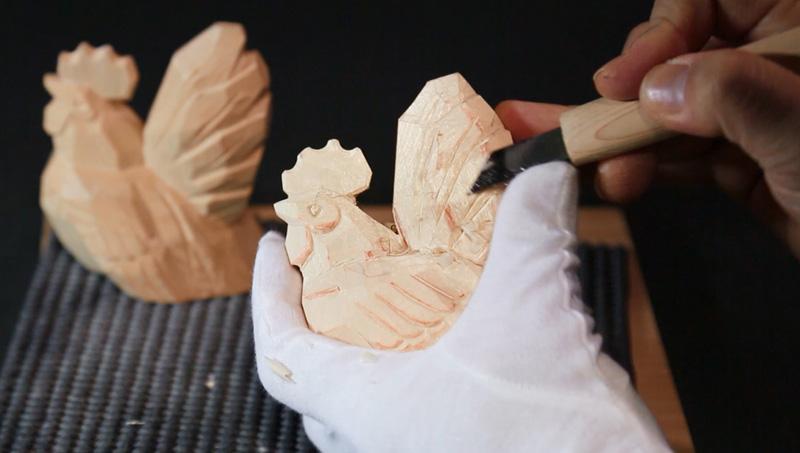 こころの木彫り「招福 とり」Bセット