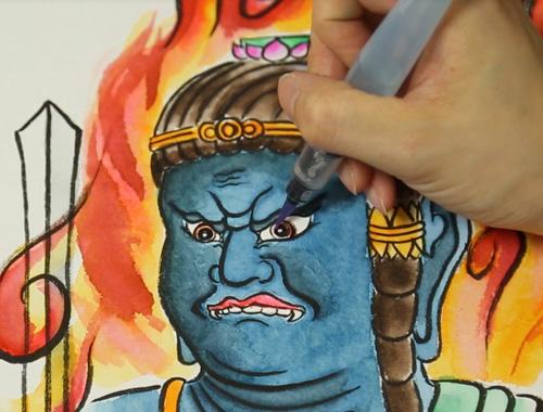 こころの筆ペン仏画「聖観音菩薩」「不動明王」Aセット