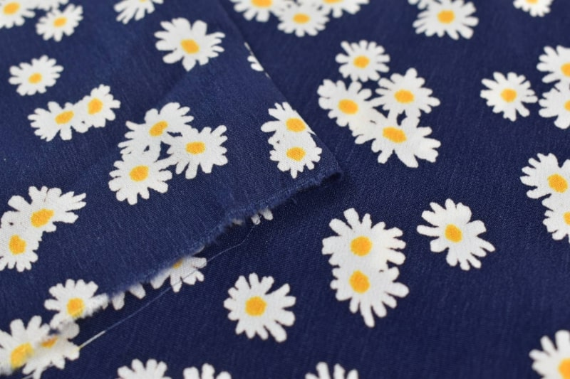 サテン生地 花柄