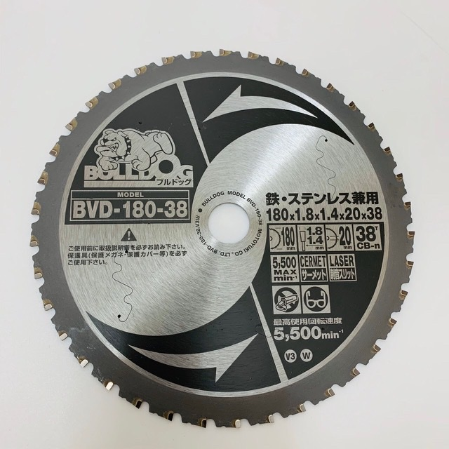 ブルドック 鉄・ステンレス兼用チップソーBVD-180-38(モトユキ)メール便可