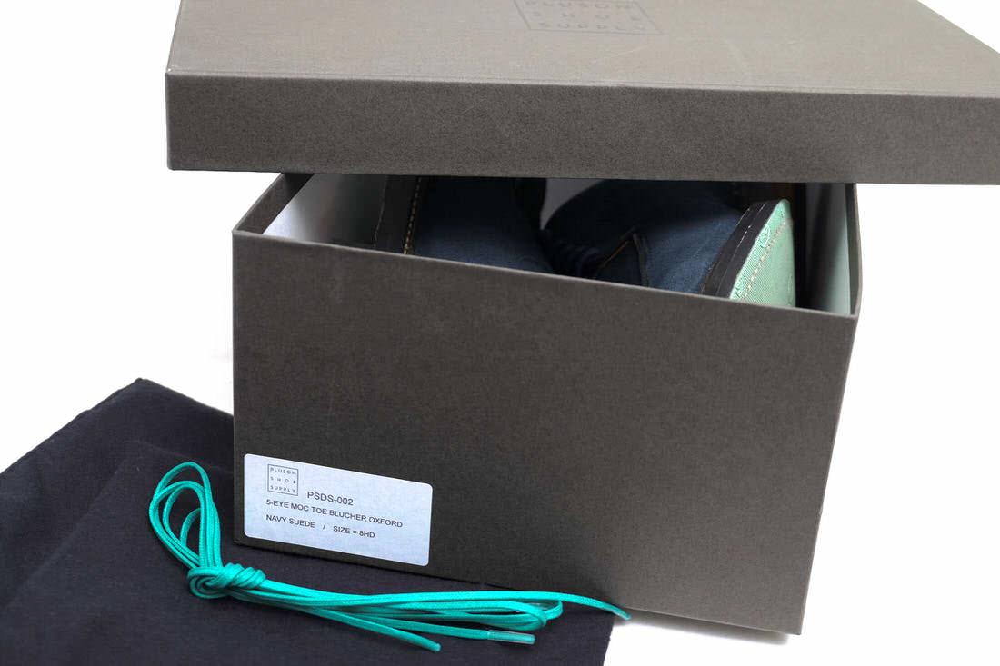 PLUSON SHOE SUPPLY PSDS-002 5 Eye MOC Toe Blucher Oxford / プラソンシューサプライ オックスフォードシューズ 牛革 モックトゥ Vibramソール ネイビー 紺 ビジネスシューズ メンズ