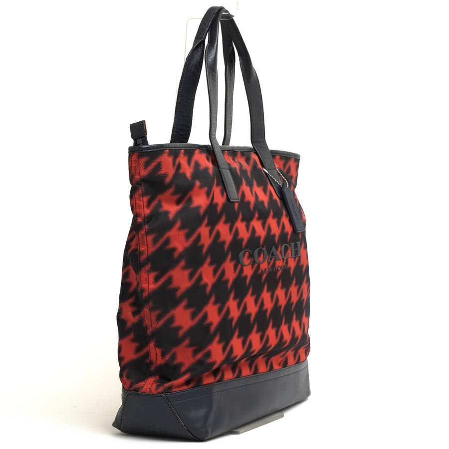COACH F71758 MERCER TOTE IN PRINTED NYLON RED HOUNDSTOOTH 千鳥柄 / コーチ トートバッグ レッド 赤 ナイロン×レザー メンズ