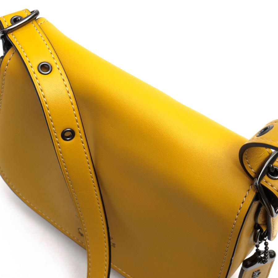 コーチ ショルダーバッグ COACH 20115 Saddle Bag サドルバッグ 牛革 Disney ディズニー ミッキーマウス コラボ イエロー 黄 レザー レディース