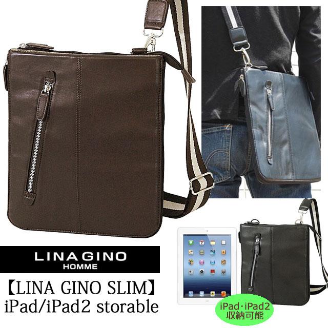 ショルダーバッグ iPad メンズ 【Lina gino SLIM 】(リナ ジーノ スリム)iPad やタブレット端末収納可能 スリムボディマルチショルダーバッグMサイズ