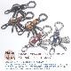 【ゆうパケット送料無料】栃木レザー&ミニカラビナ&4連フック+小型ナスカン キーホルダー