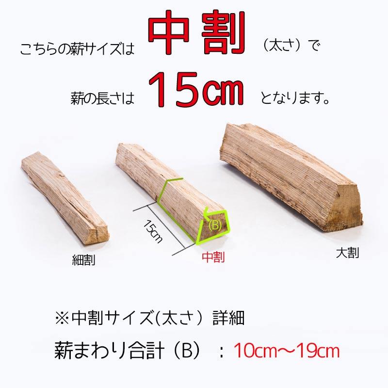 薪-サクラ(桜)人工乾燥15cm中割3�