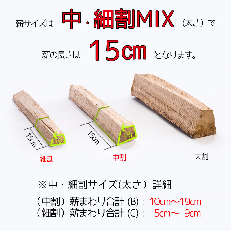 薪-スギ(杉)自然乾燥15�中・細割MIX5�