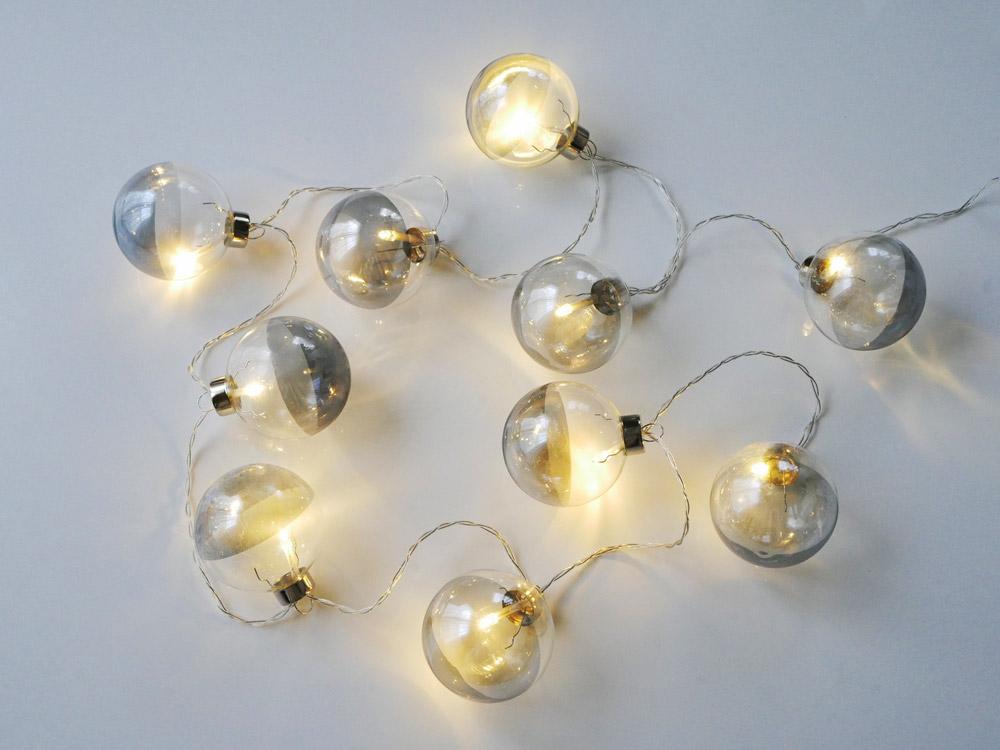 【Horn Please】 LEDライト GLASS ボールガーランド /グレー