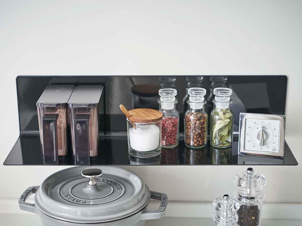 【tower】マグネットキッチン棚 ワイド ブラック