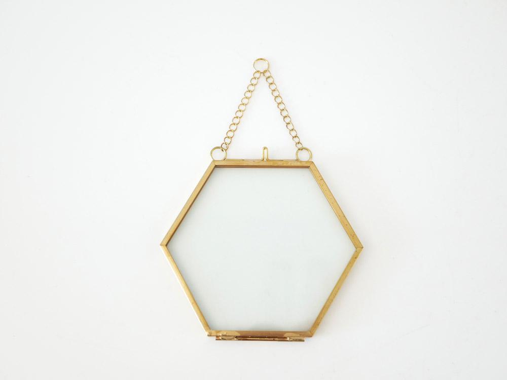 【POSH LIVING】ガラスフレーム  ヘクス ゴールド