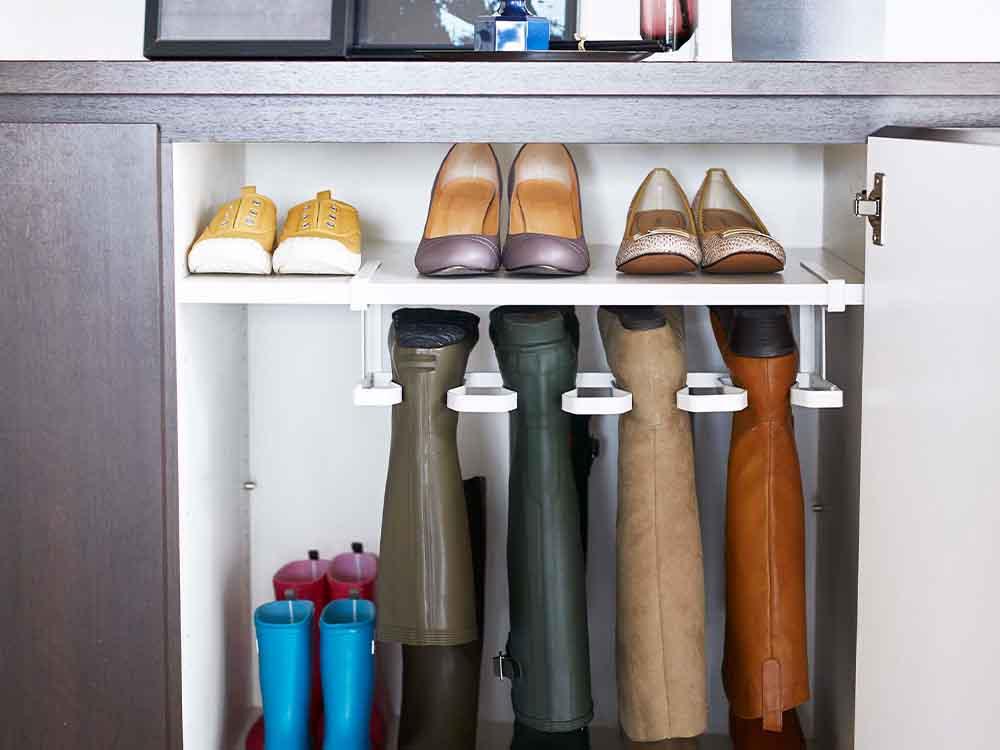 【frame】下駄箱中長靴&ブーツホルダー ホワイト