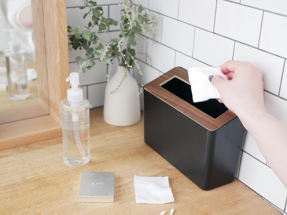 【RIN】蓋付き卓上ゴミ箱  ブラウン